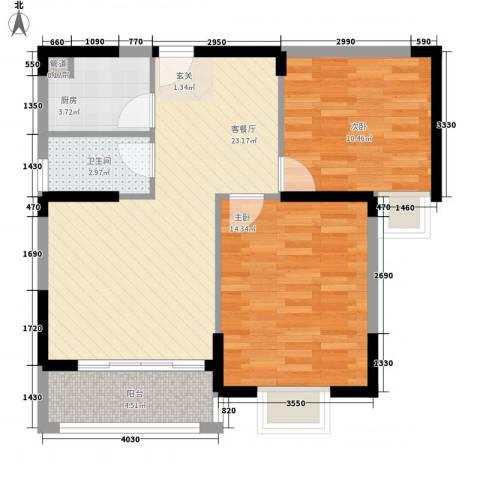 阳光四季2室1厅1卫1厨84.00㎡户型图