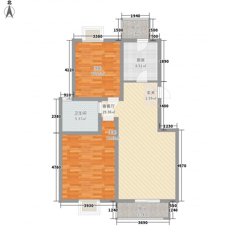 蓝水假期126.00㎡2户型2室2厅1卫