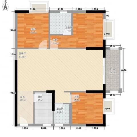 阳光四季3室1厅2卫1厨118.00㎡户型图
