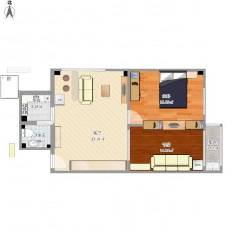 新鸿花园2室1厅1卫1厨69.00㎡户型图