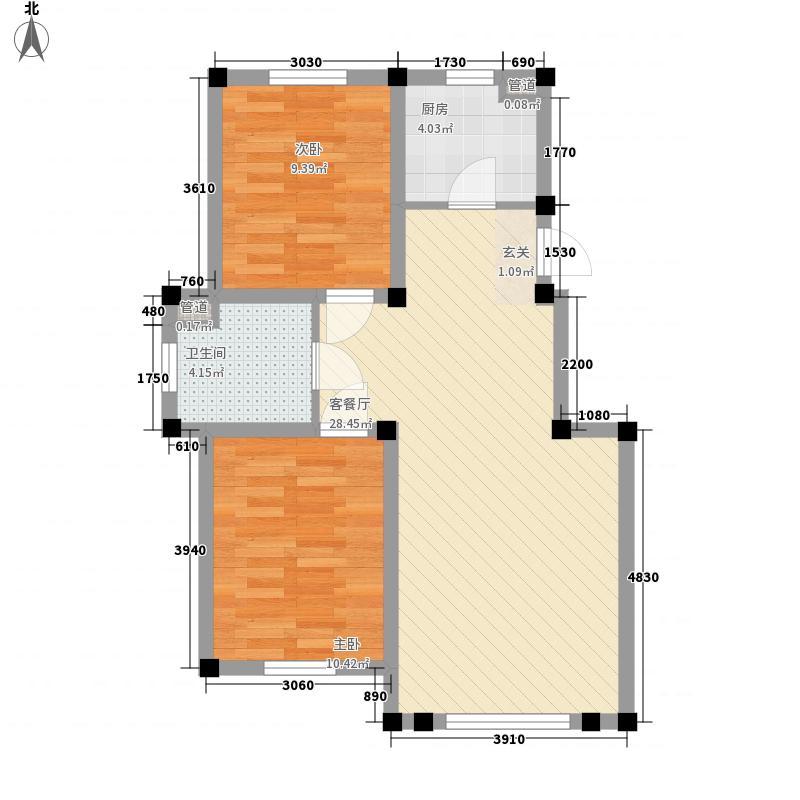 阳光上城雅居83.66㎡5#楼A户型2室2厅1卫