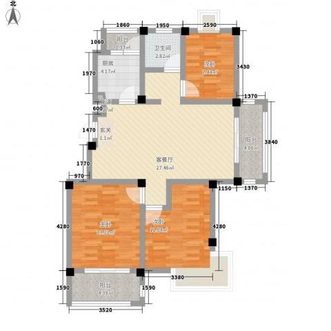 都市桃源3室1厅1卫1厨112.00㎡户型图