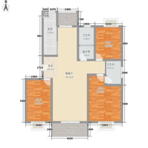 大通绿岛家园格林风尚3室2厅2卫1厨135.00㎡户型图