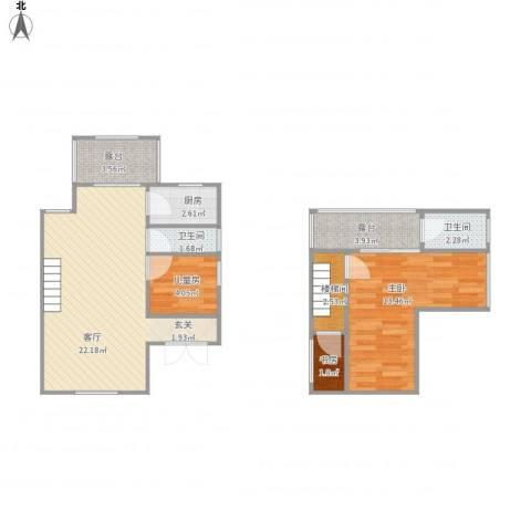 凌高小区3室1厅2卫1厨80.00㎡户型图