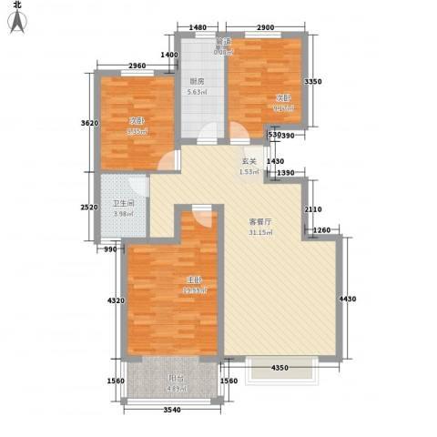 名人国际花园3室1厅1卫1厨114.00㎡户型图