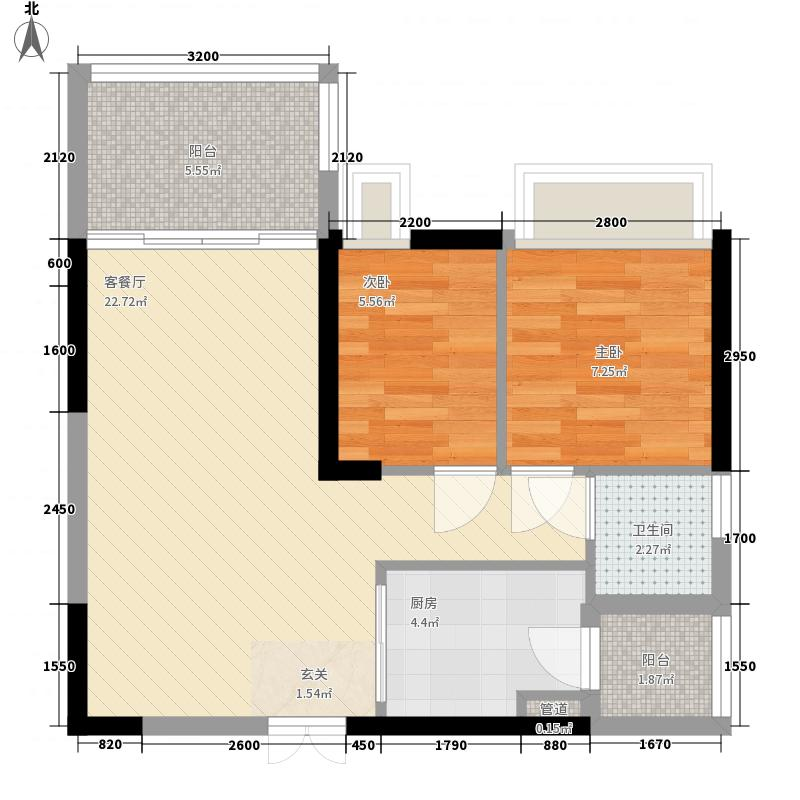 龙园龙凤雅居3栋02户型2室2厅1卫1厨