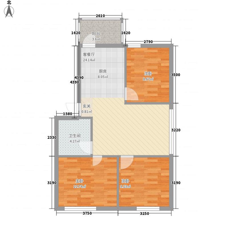 聚源花园户型3室1厅1卫1厨