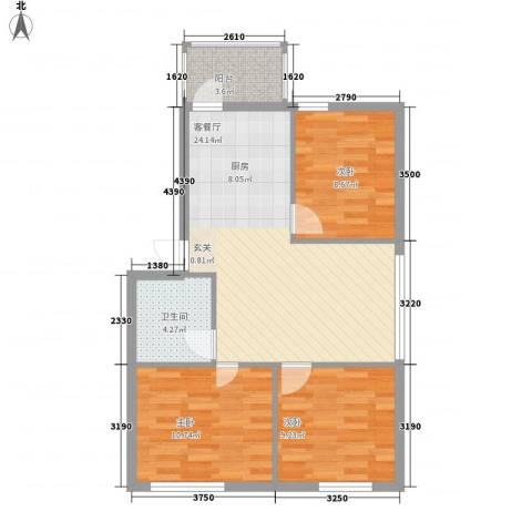 聚源花园3室1厅1卫0厨84.00㎡户型图
