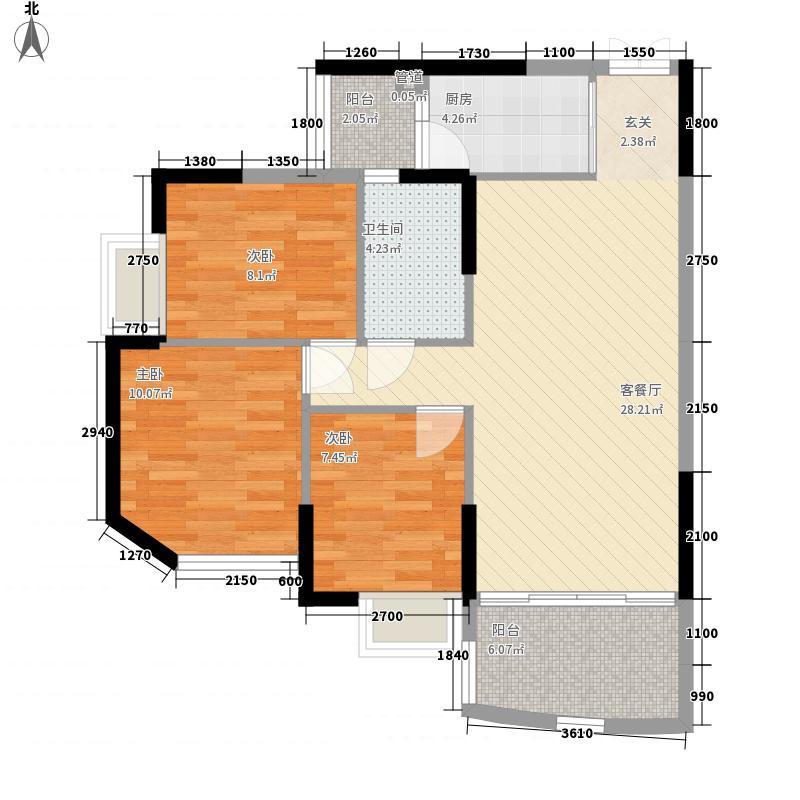 龙园龙凤雅居3栋05户型3室2厅1卫1厨