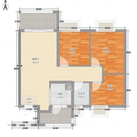 保利公园九里3室1厅1卫1厨108.00㎡户型图