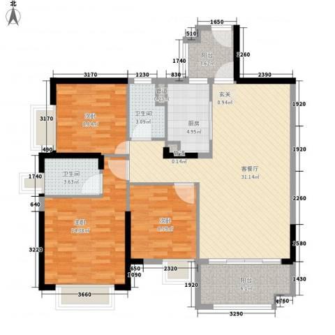 保利公园九里3室1厅2卫1厨121.00㎡户型图