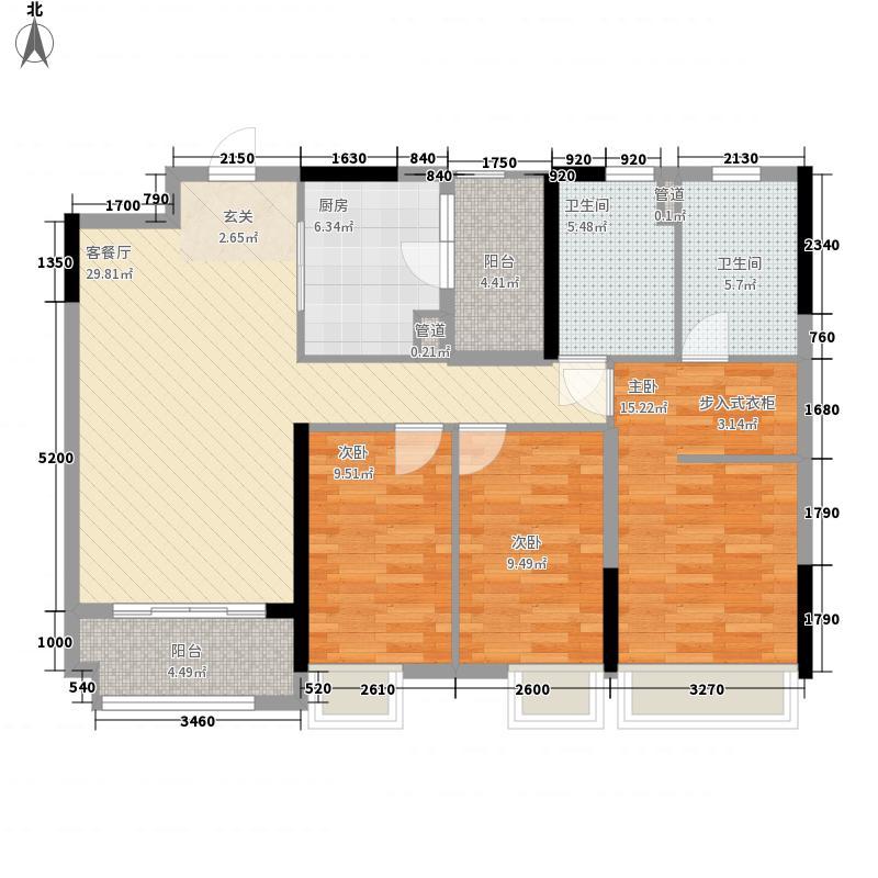 佛山时代倾城115.00㎡13栋2-18层04单元户型3室2厅2卫1厨