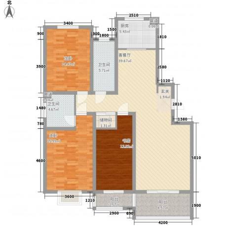 港澳花园3室1厅2卫1厨148.00㎡户型图