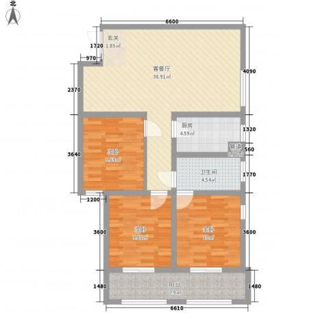 阳光御湖苑3室1厅1卫1厨77.61㎡户型图