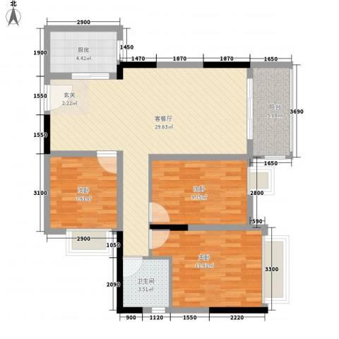 珠江东岸3室1厅1卫1厨103.00㎡户型图
