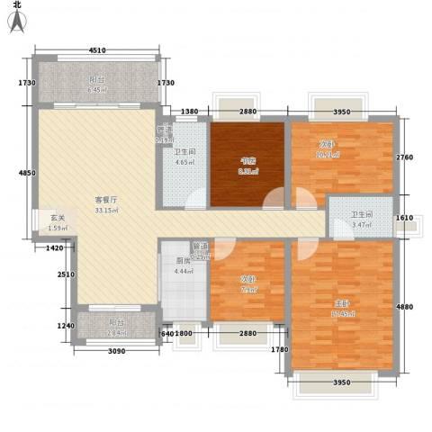 保利公园九里4室1厅2卫1厨141.00㎡户型图