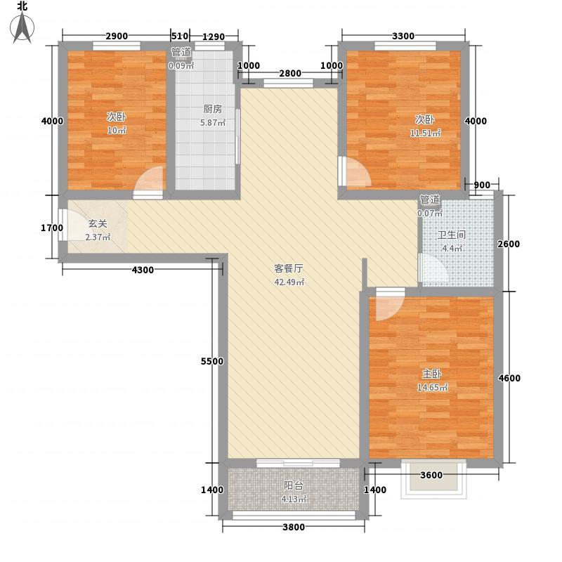 天伦锦城134.47㎡三期1#标准层F户型3室2厅1卫1厨