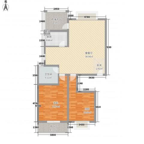 碧海绿洲2室1厅1卫1厨127.00㎡户型图