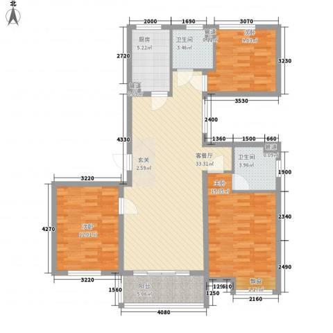 华凤第8天3室1厅2卫1厨125.00㎡户型图