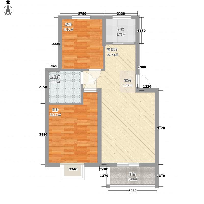 汇景豪庭76.81㎡A户型2室2厅1卫1厨