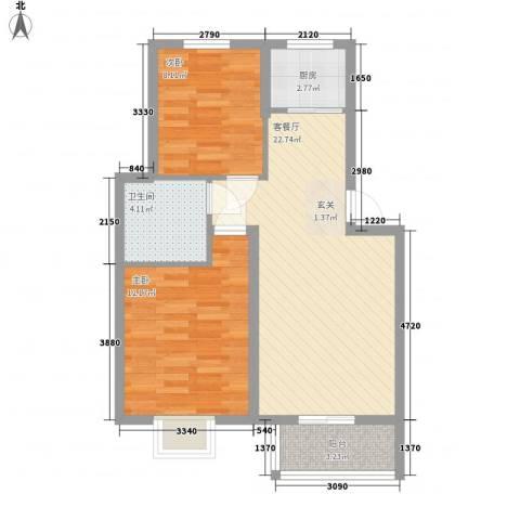 汇景豪庭2室1厅1卫1厨77.00㎡户型图