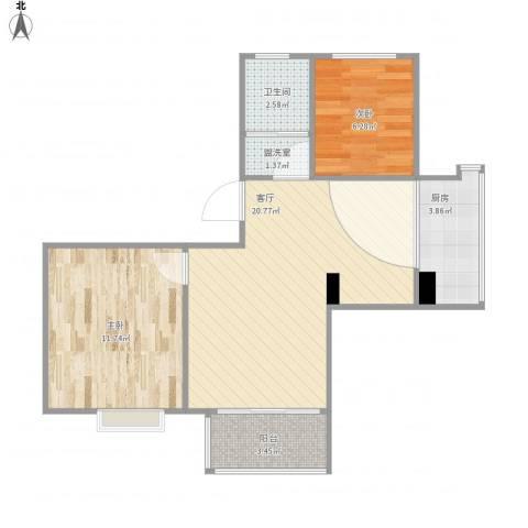 白玉兰馨园2室2厅1卫1厨69.00㎡户型图