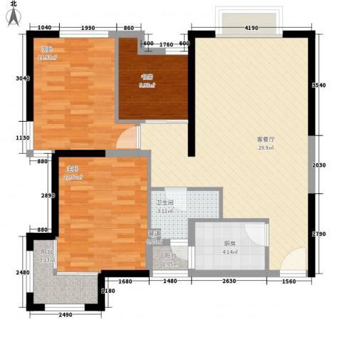 金沙城市广场3室1厅1卫1厨71.62㎡户型图