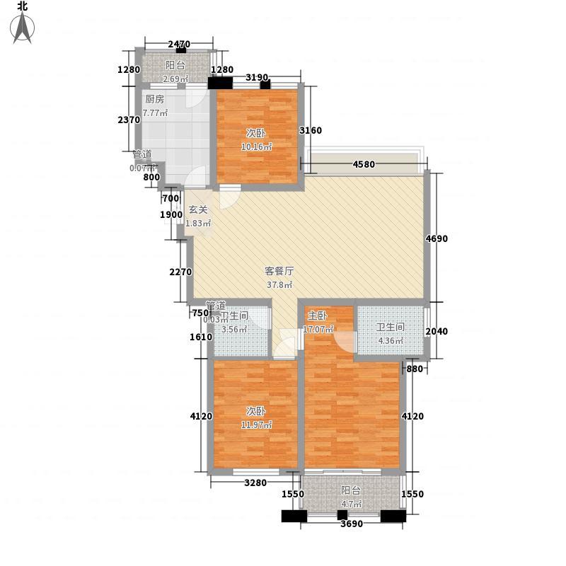 建业壹号城邦142.00㎡3#、5#楼F户型3室2厅2卫