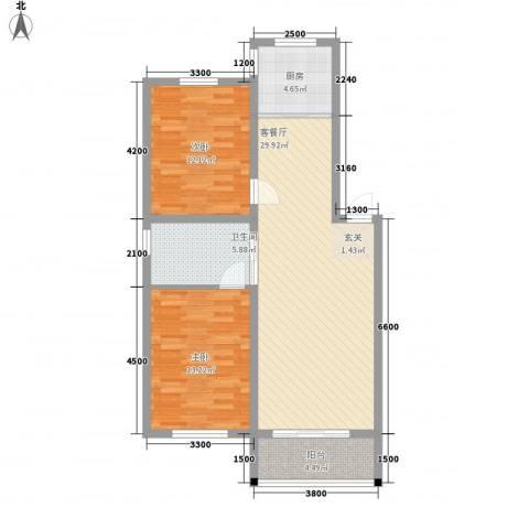 嘉和苑2室1厅1卫1厨89.00㎡户型图