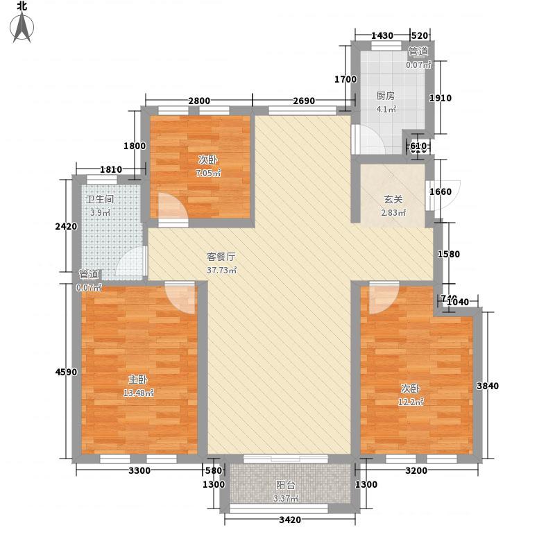 金海蓝湾11.00㎡3号楼C户型3室2厅1卫1厨