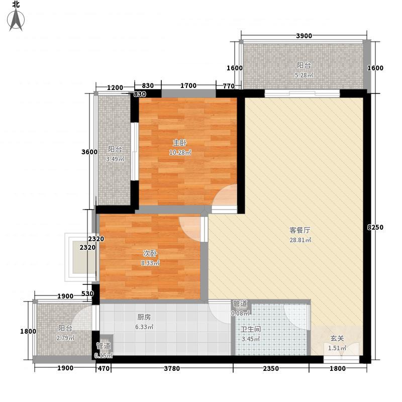 海�台北湾6.23㎡16#楼E标准层户型2室2厅1卫1厨