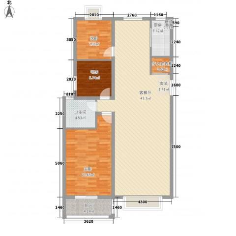 碧海绿洲3室1厅1卫1厨131.00㎡户型图