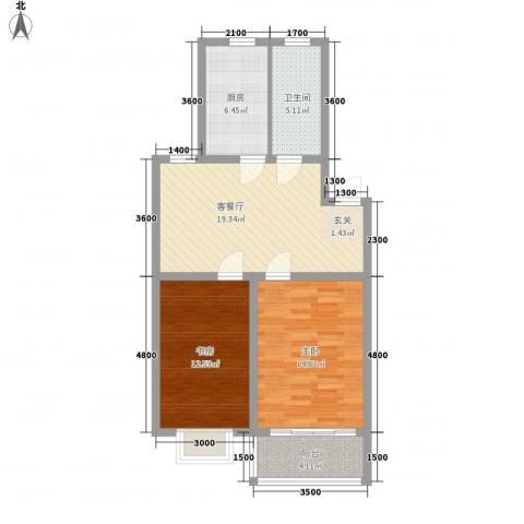 嘉和苑2室1厅1卫1厨79.00㎡户型图