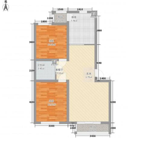 御龙湾2室1厅1卫1厨94.00㎡户型图