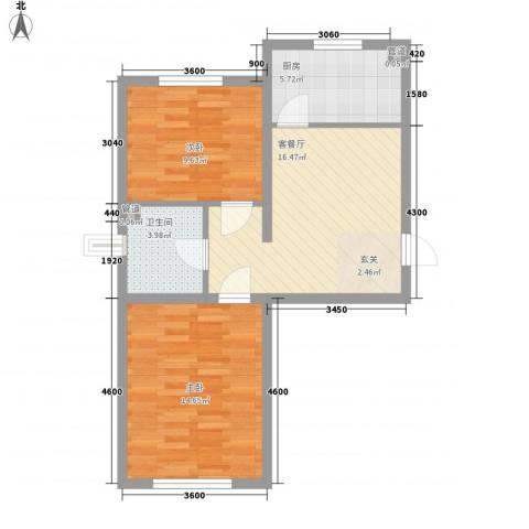 御龙湾2室1厅1卫1厨72.00㎡户型图