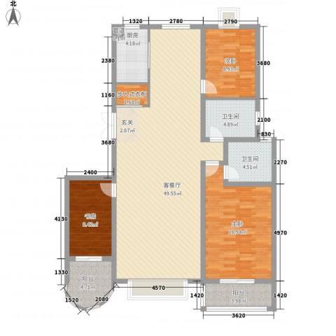 碧海绿洲3室1厅2卫1厨153.00㎡户型图