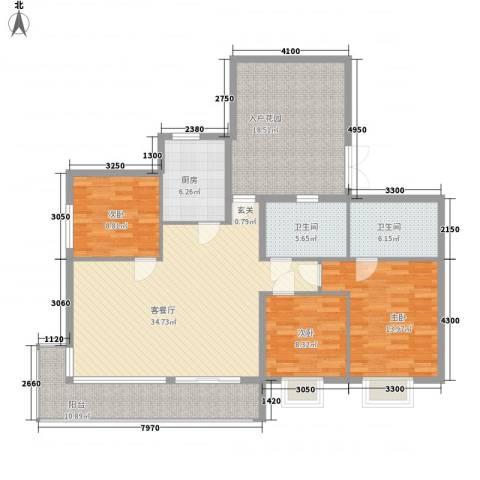 合景・月亮湾3室1厅2卫1厨131.00㎡户型图
