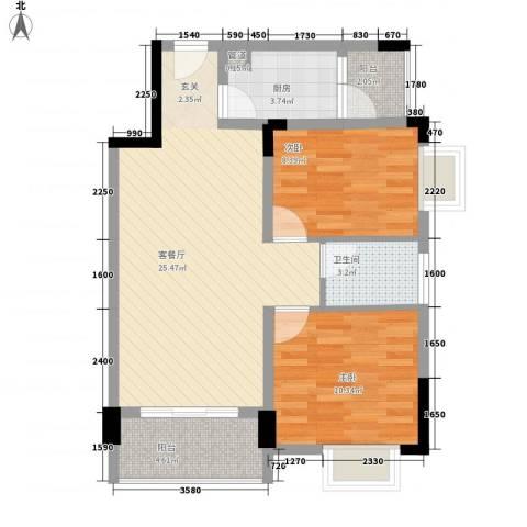 祥兴花园2室1厅1卫1厨84.00㎡户型图