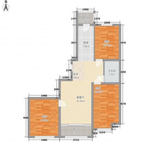 睿城臻品3室1厅1卫0厨78.97㎡户型图