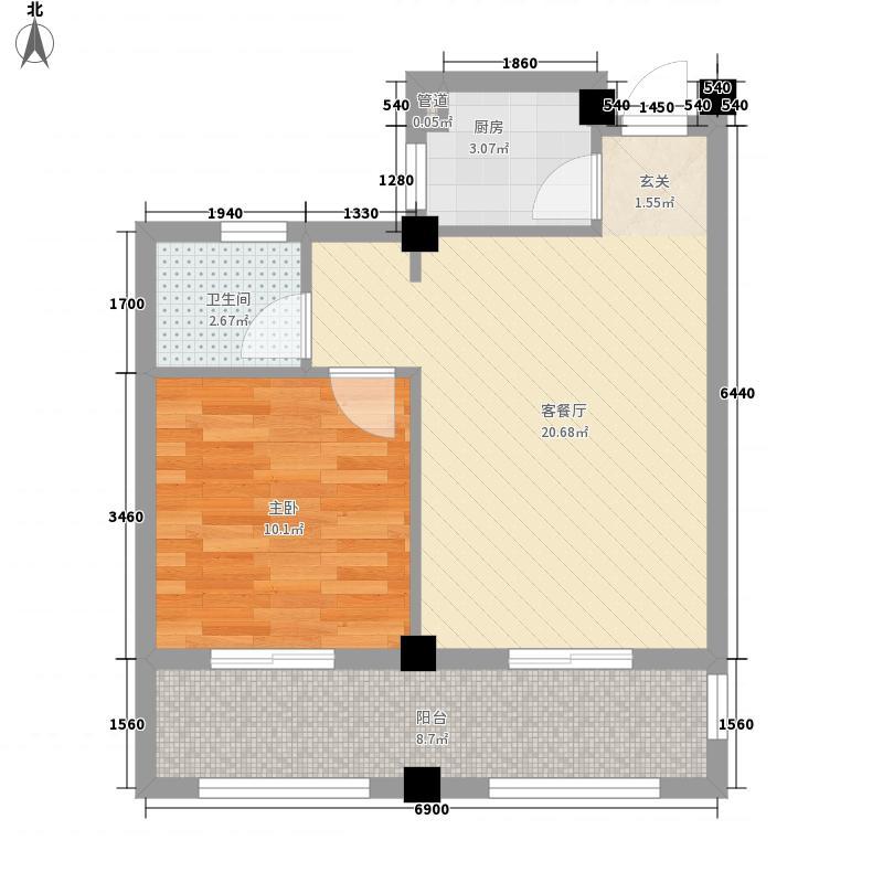 春晓源燕园66.58㎡高层9#-02户型1室2厅1卫1厨