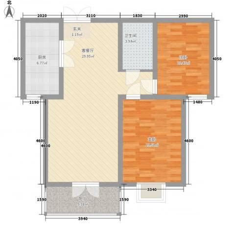 太化时代花园2室1厅1卫1厨70.03㎡户型图