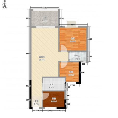 祥兴花园3室1厅1卫1厨83.00㎡户型图