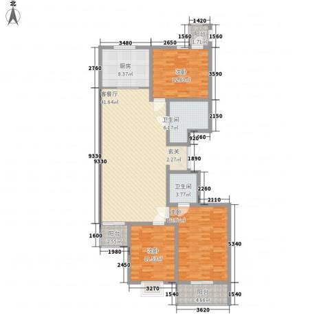太化时代花园3室1厅2卫1厨158.00㎡户型图