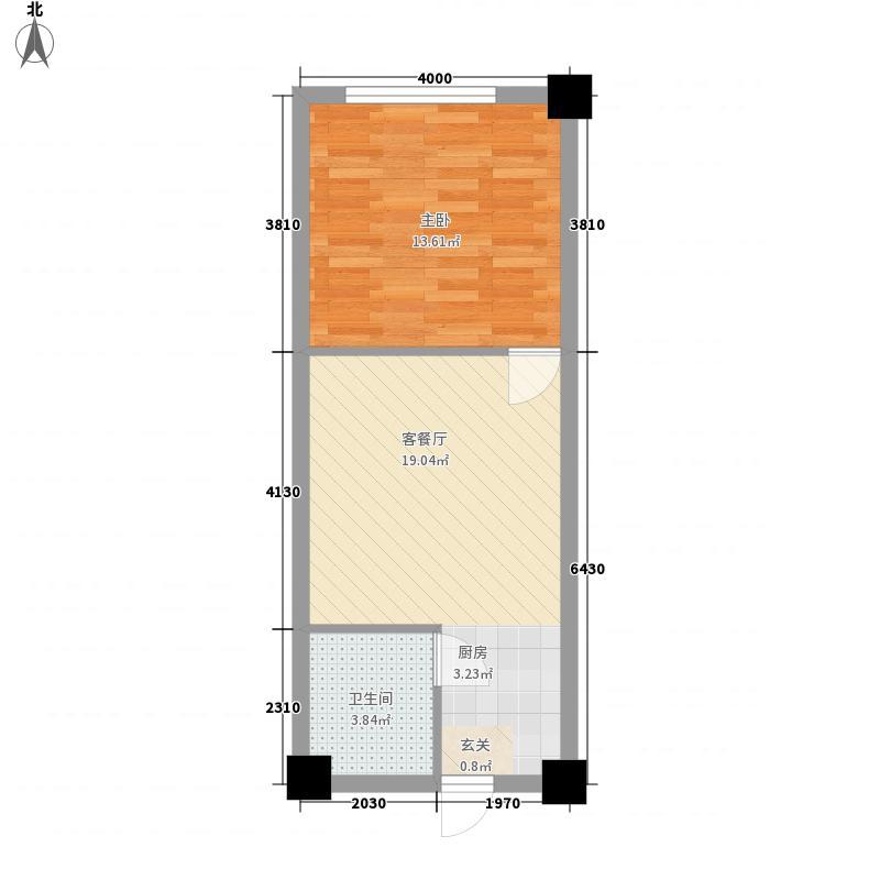 地铂港51.00㎡A8户型1室1厅1卫1厨