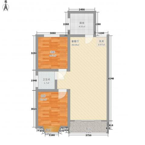 蜀秀苑2室1厅1卫1厨69.00㎡户型图