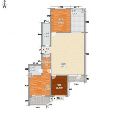 港澳花园3室1厅2卫1厨167.00㎡户型图