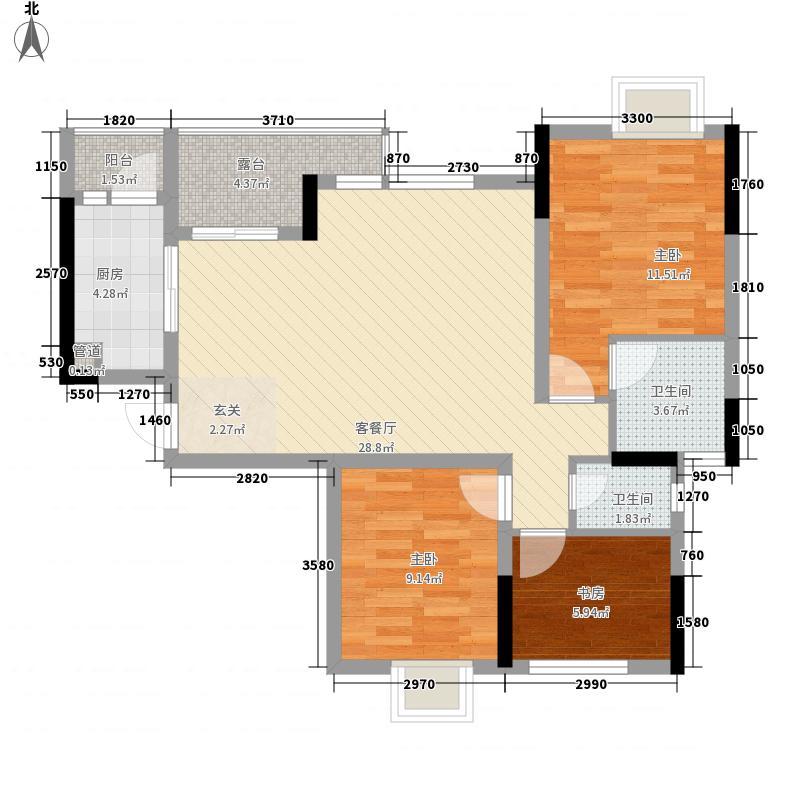 红枫岭81.02㎡2#地块B-3型户型3室2厅2卫1厨