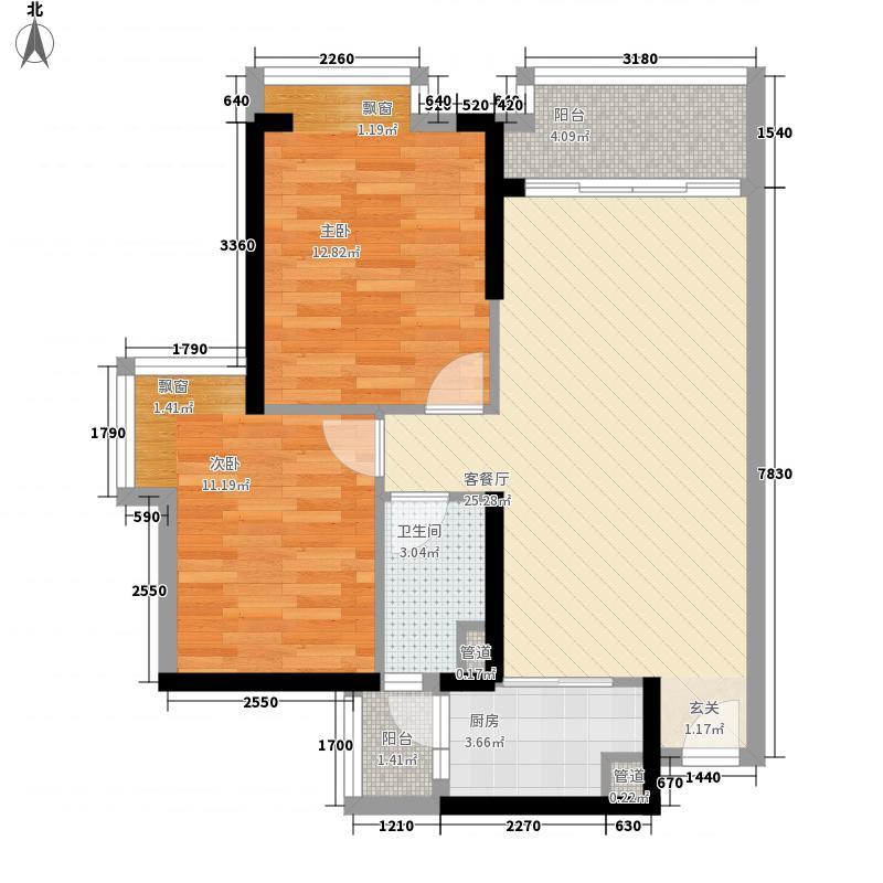 海伦堡・院子72.00㎡3栋01户型2室2厅1卫1厨