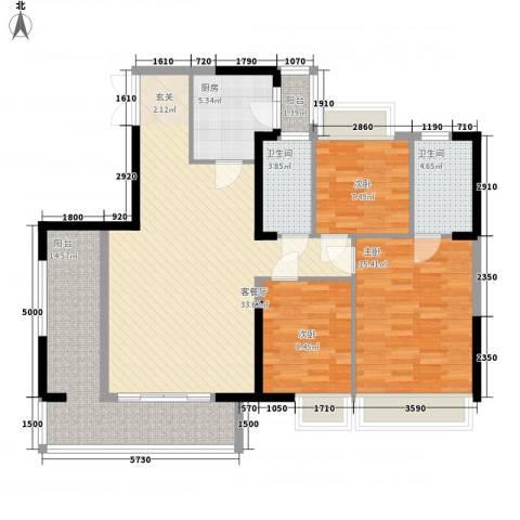 庄士8号3室1厅2卫1厨122.00㎡户型图