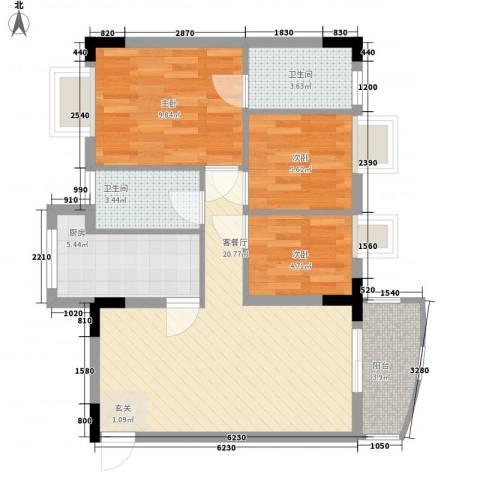 丽水湾3室1厅2卫1厨82.00㎡户型图